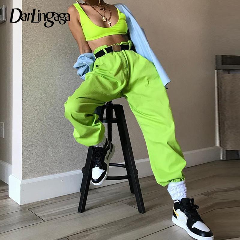 Darlingaga Hip Hop Fluorescent Green Track Pants Solid Casual Loose Joggers Women Streetwear Women's Pants Trousers Bottom 2019 MX190716
