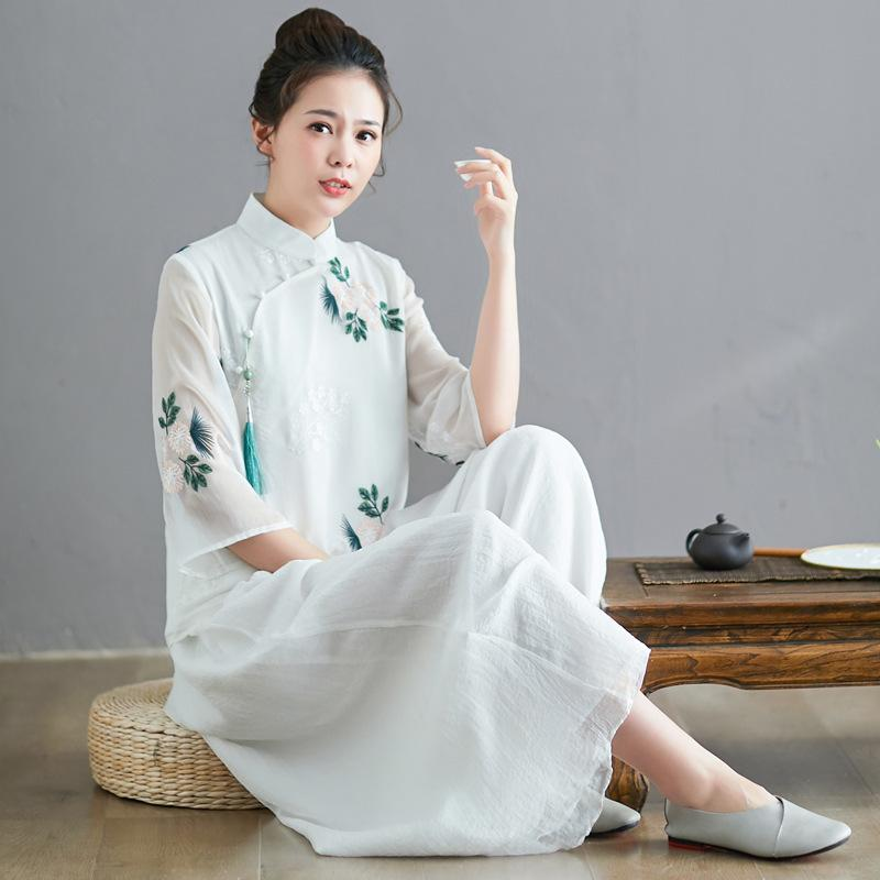 2020 spring summer short top Chinese women spring summer loose comfortable Chinese style top women Chiffon white