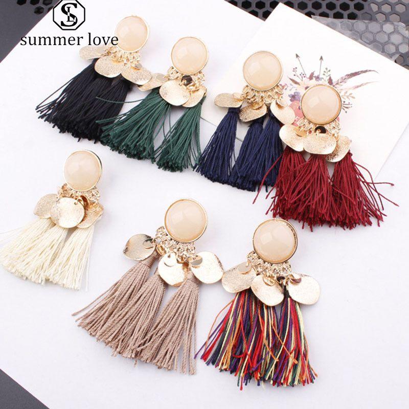 New Arrival Bohemia Women's Tassel Dangle Earrings Boho Gold Sequin Pendant Stud Earrings For Women Fashion Jewelry-Z