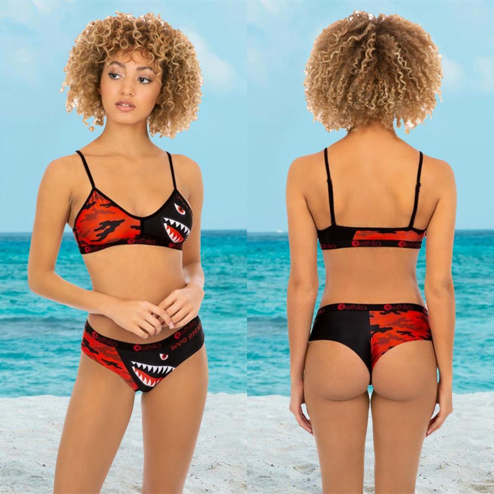 3 Renkler Ethika Mayo Kadınlar Tie Up Sütyen Şort Yüzme Trunk Pantolon 2 Adet Eşofman Patchwork Köpekbalığı Kamuflaj Mayo Bikini Seti Yeni A21804