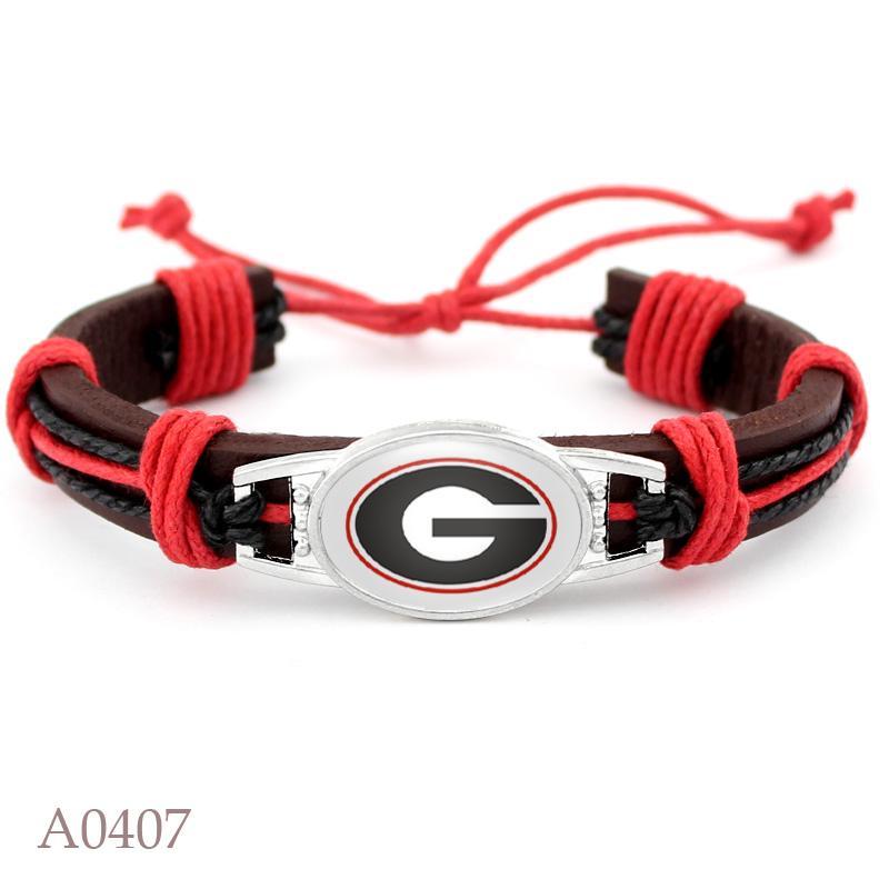 Venta caliente de Georgia encanto ajustable de cuero real pulsera 18 * 25mm Fútbol Equipo deportivo encanto brazaletes de las pulseras para la mujer Hombre