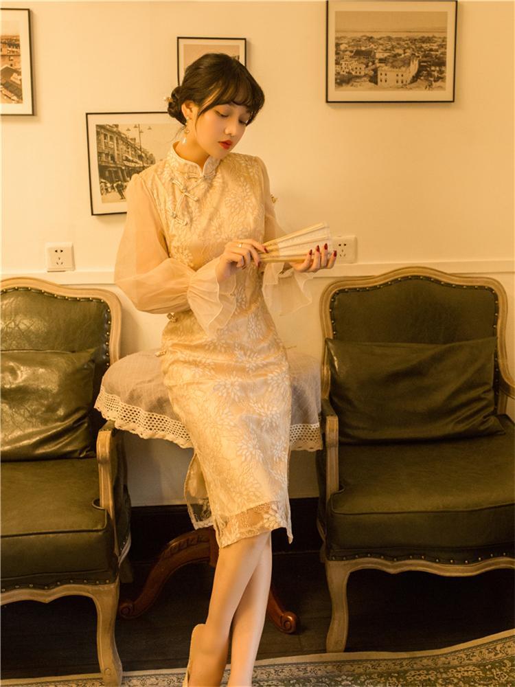 Formal Dress Retro Cheongsam Style Puff