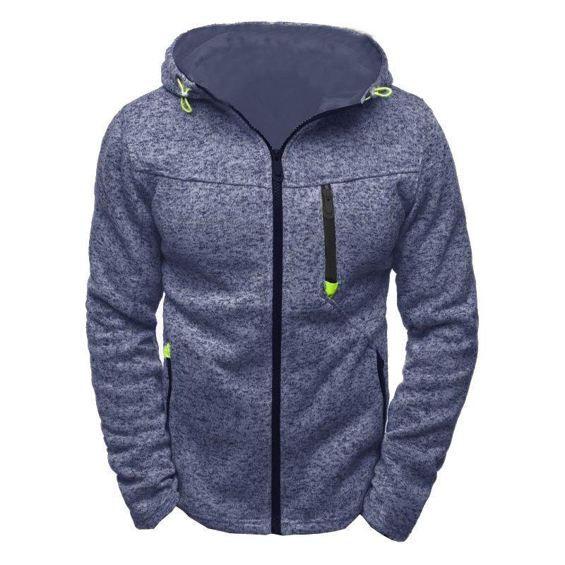 Homens velo jaqueta com zíper caminhadas com capuz de viagem ao ar livre Cardigan Hoodies Treino Masculino camisola com capuz fosco encabeça Brasão Casual Esporte