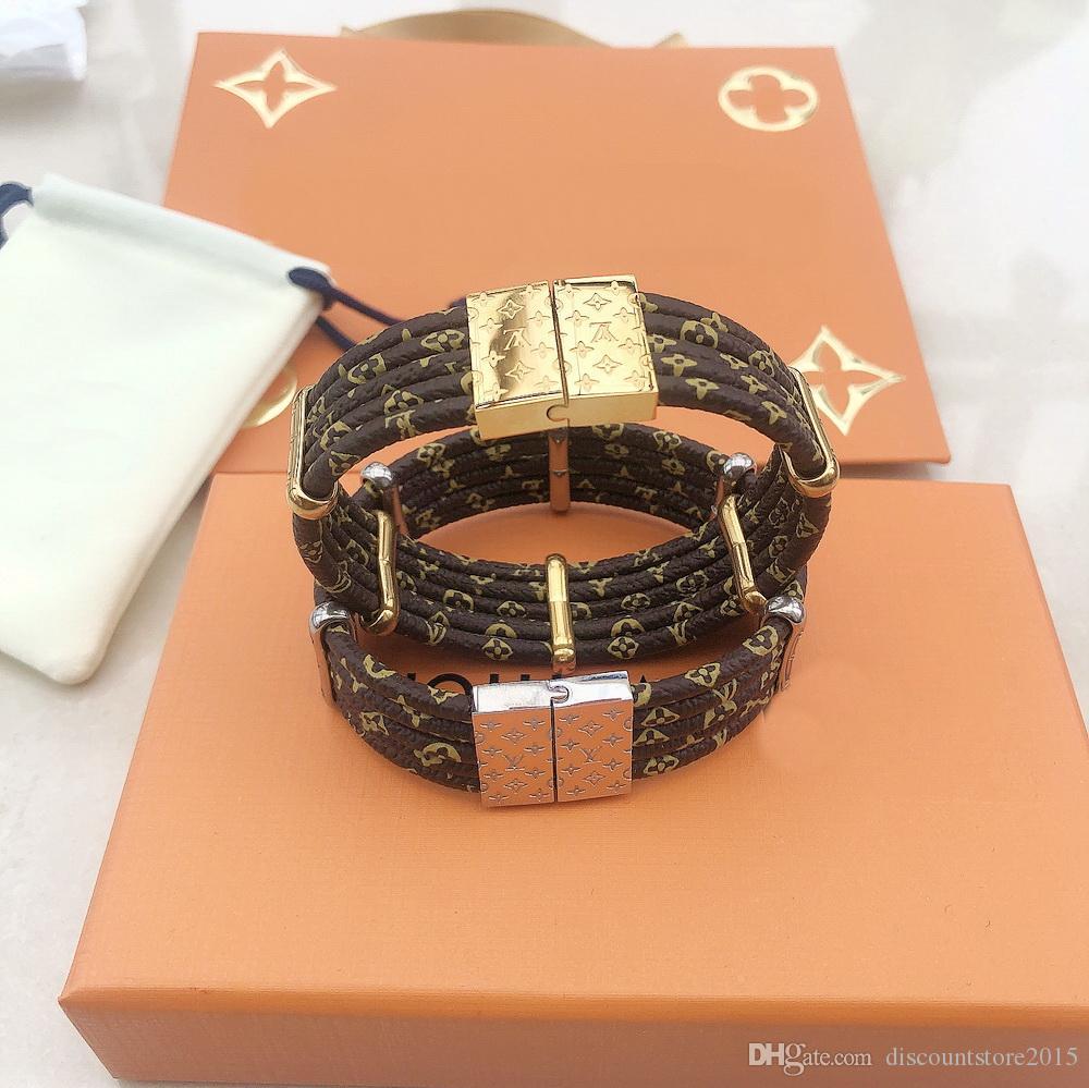 Fashion Marke namens Lady Frauen-Runde Fünf Deck magnetische Haken-Leder-Armband-Armband mit Gold 18K Gravierte Vier Blatt Blume Zubehör