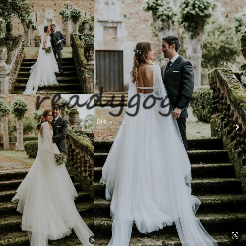 Abiti da sposa spiaggia bohemien con collo lungo 2019 Backless Lace Tulle con scollo a V Tutta la lunghezza Summer Holiday Seaside Bridal Wedding Gown