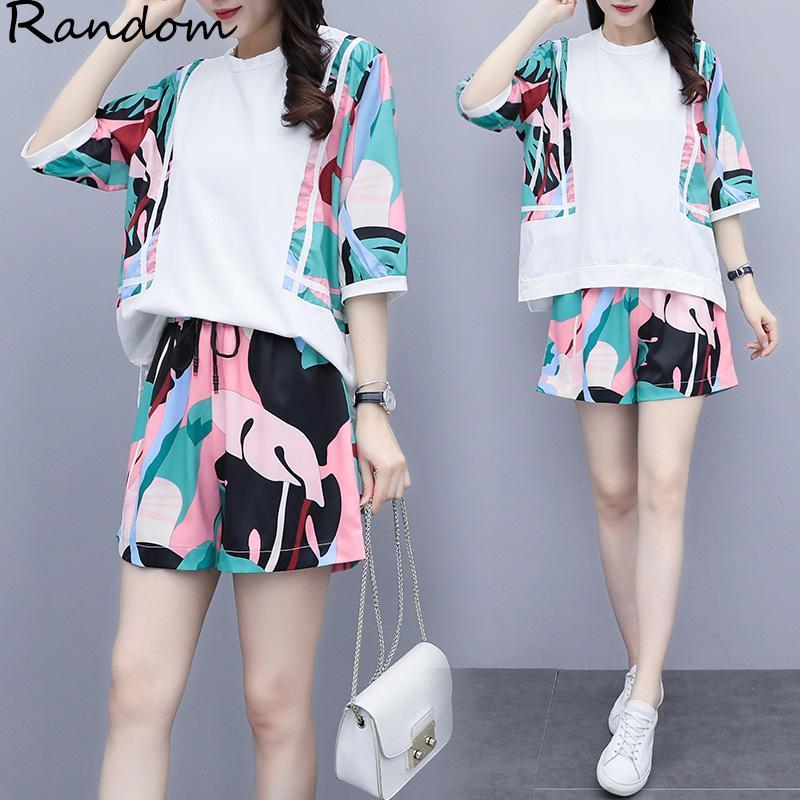 Verão Roupa Mulheres Plus Size 4XL Sports Curto Suit Top E Pant duas partes Sportwear Treino condizer inicial Imprimir Outfit