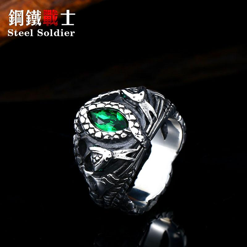 Steel soldier the ring the Balah popular fashion snake with green stone power stainless steel man religion jewelry