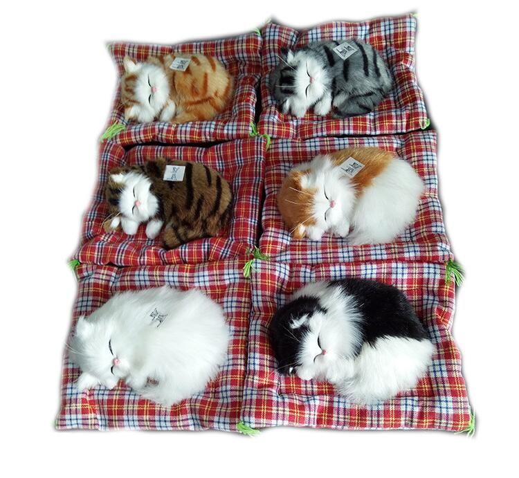 Прекрасные Моделирование животных куклы плюша Sleeping Cats игрушка со звуком Детские игрушки подарка дня рождения куклы украшения мягкие игрушки