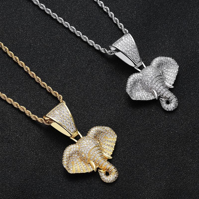 Hip cristallo pendente di oro argento delle donne della collana di antiquariato dell'elefante lusso Hop Punk partito Moto