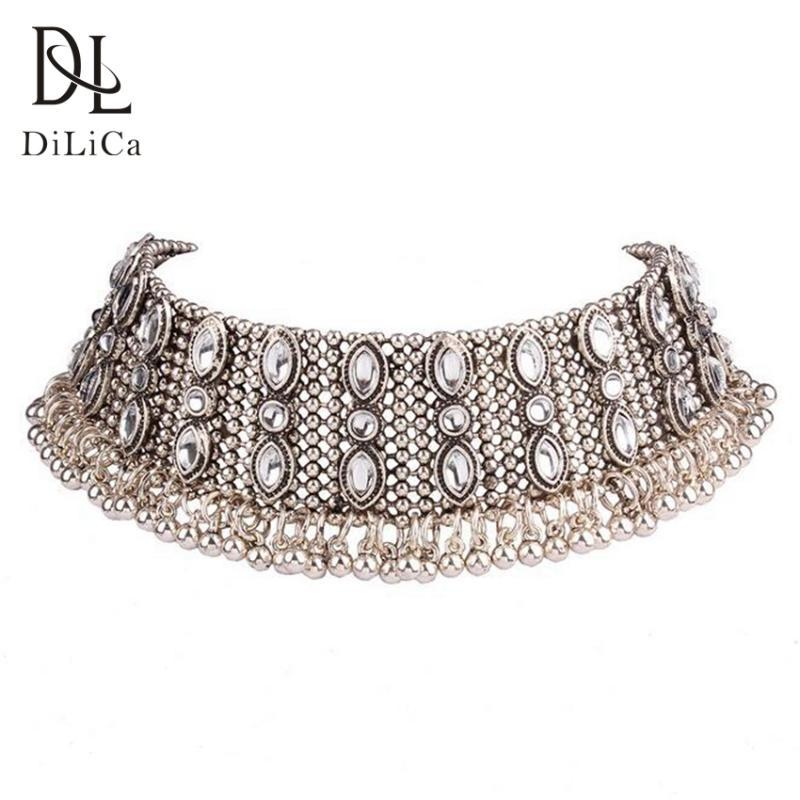 DiLiCa Vintage Choker Necklace Women Ancient Silver Gold Color Necklaces Chokers Ethnic Bohemian Short Necklace Collar