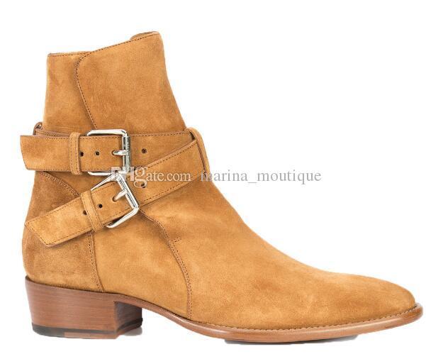 جديد وصول البقرة الجلد المدبوغ الإبزيم السائق وايت أحذية أحذية الشتاء للرجال كاوبوي Boooties Chelse
