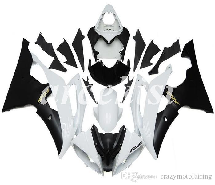 Nueva ABS inyección de carenados completos kits de Ajuste para YAMAHA YZF-R6 2008 2009 2010 2011 2012 2013 2014 2015 2016 R6 Apelación estableció Mate Negro Blanco