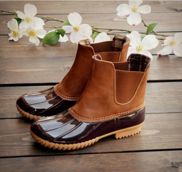 Sıcak Satış-2019 Yeni Kadın kayma ördek botları Unisex Bayan Ayakkabı Bilek Pvc Yetişkin Su geçirmez Nefes Casual Yağışlı Günler Gerekli Olmayan slip