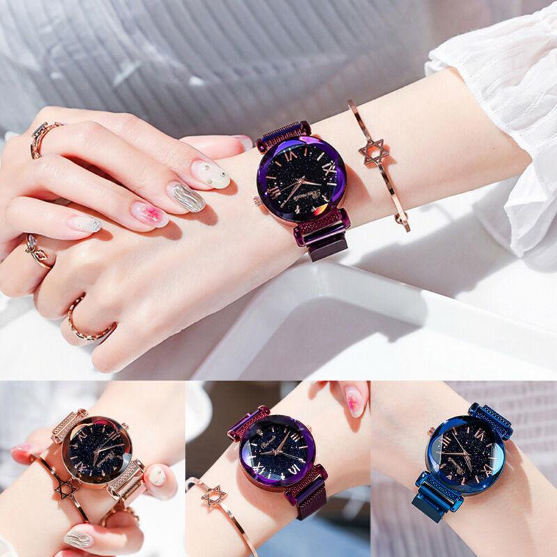 Women`s Starry Sky Diamond Dial Ladies malha pulseira relógios Magnetic Luxo inoxidável Assista
