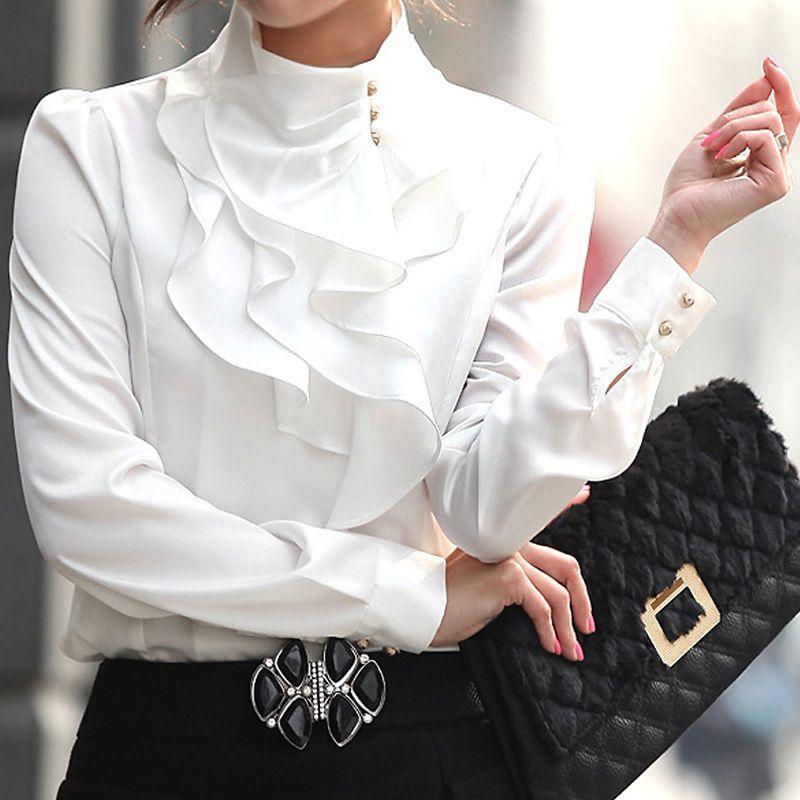 Bahar Kadın Pamuk Bluzlar 2018 Sonbahar Moda Gömlek Kadın Fırfır Yaka Düğme Up Katı Zarif Ofis Kazak Tops Giysileri