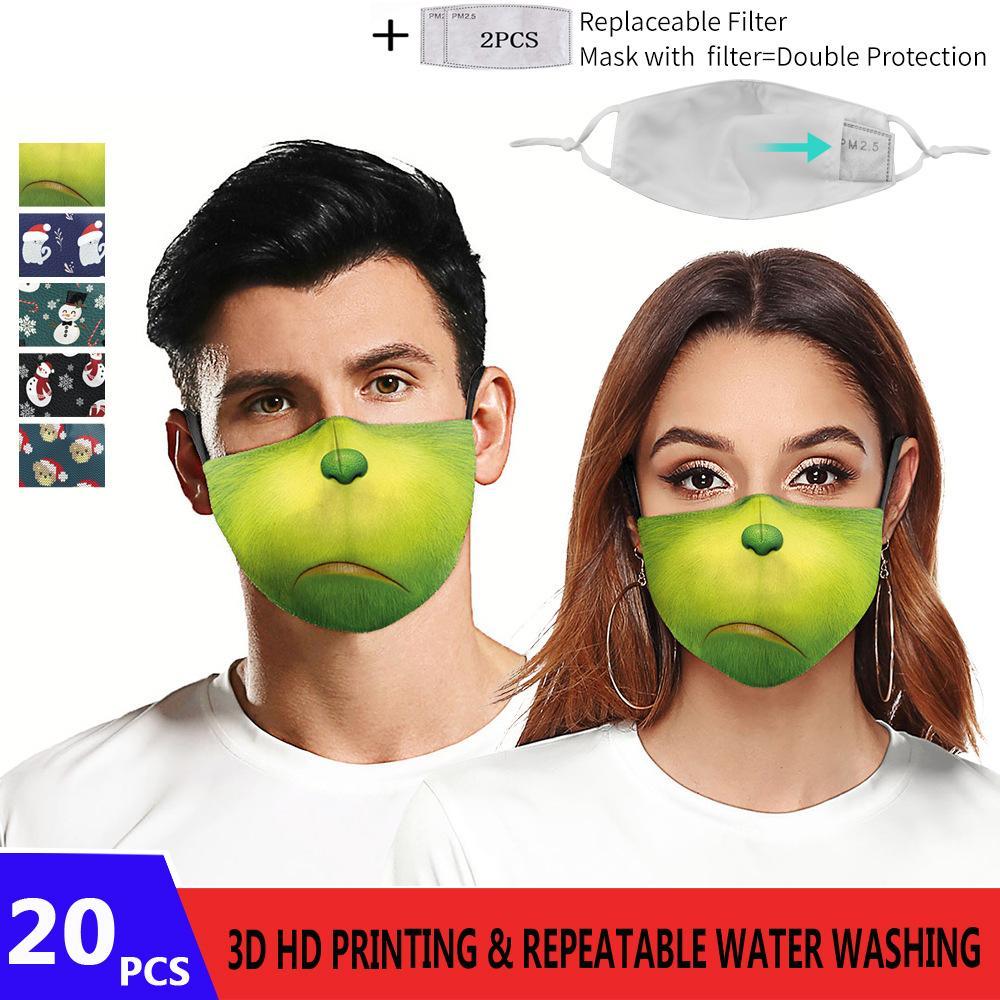 Auf Lager Mode 3D HD Druck Weihnachtselement Pattem Gesichtsmaske Erwachsene Wiederverwendbare Schutzhülle PM2.5 Waschbare Gesichtsmasken 5layer Filter