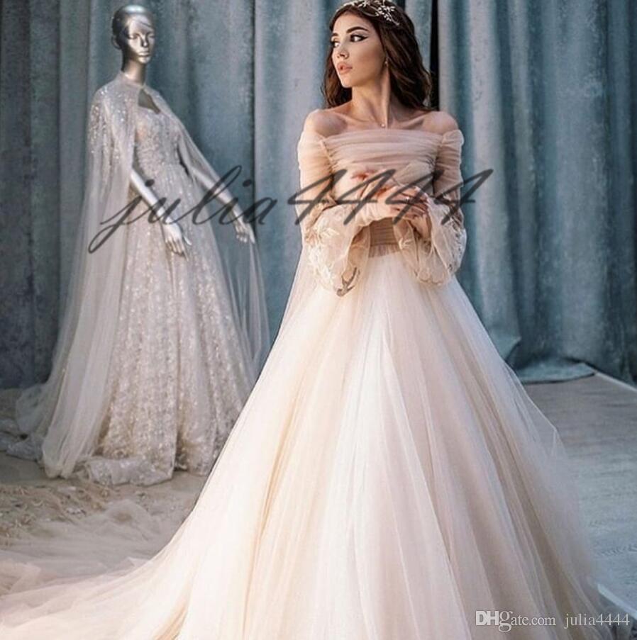 Bateau branco elegante lace applique vestidos de casamento 2019 nova mangas compridas a linha sheer voltar sweep trem vestidos de noiva