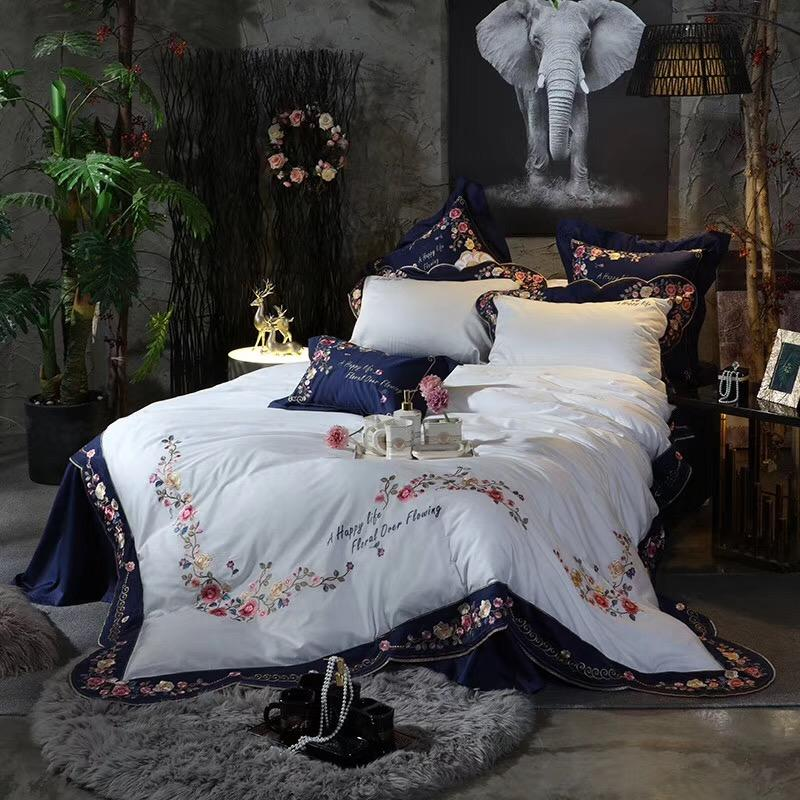 4/7pcs Blue White High-end  Pastoral Flowers Embroidery 100S Egyptian cotton Bedding Set Duvet Cover Bed sheet Pillowcases
