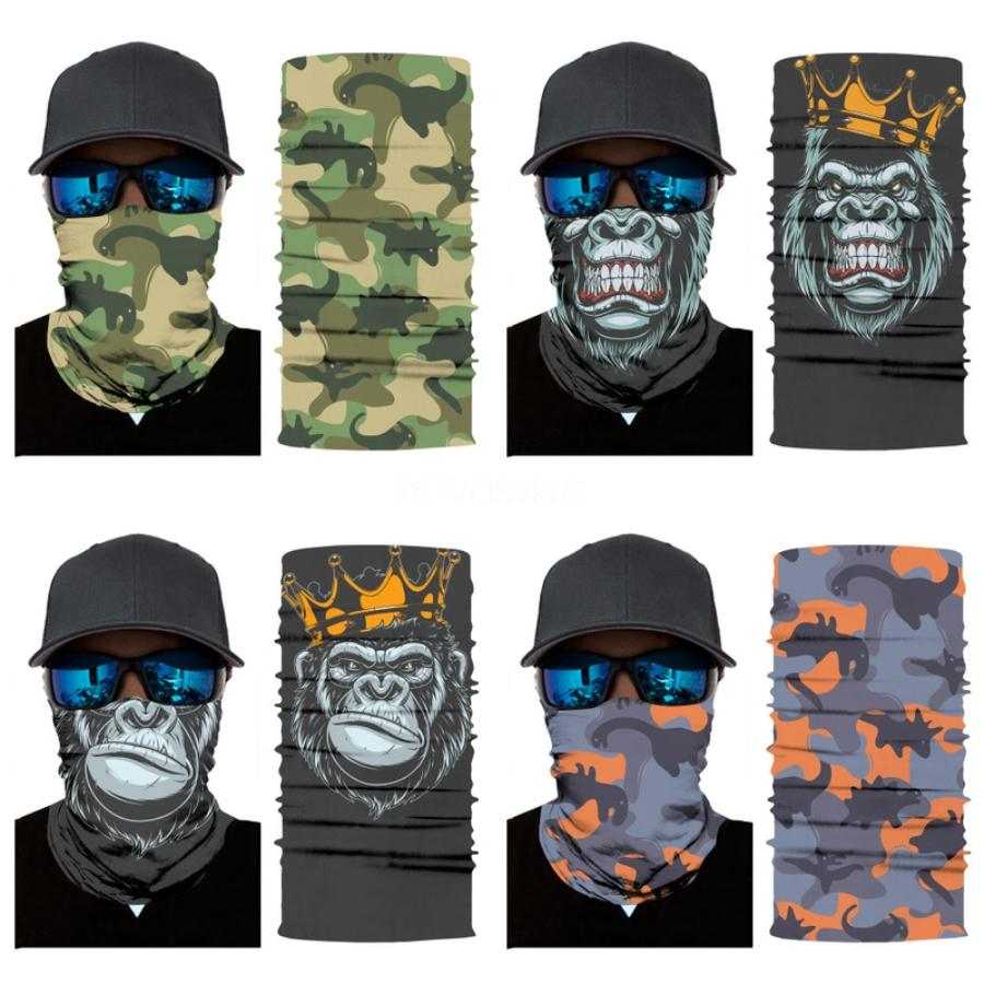 5 Style Camouflage Polyester Scarves Face Dust Mask Outdoor Sport Cycling Bandanas Camping Hiking Scarves Headwear Magic Skull Scarf#364