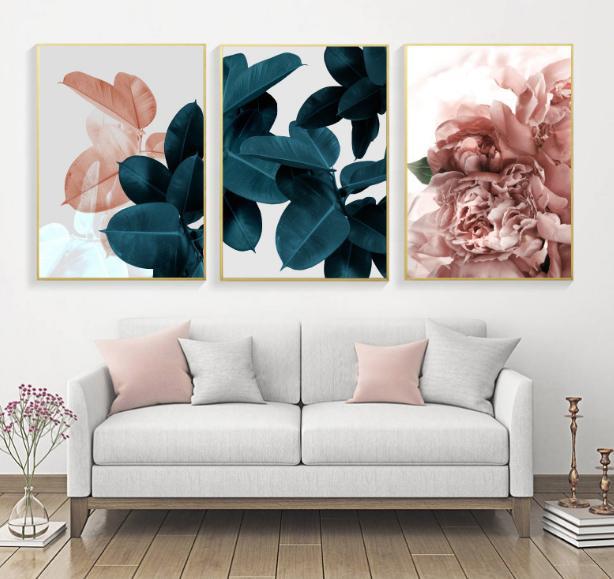 Modern Soyut Pembe Çiçekler Yeşil Bitkiler Poster Baskı Tuval Boyama Resimleri Ev Wall Art Dekorasyon Özelleştirilebilir