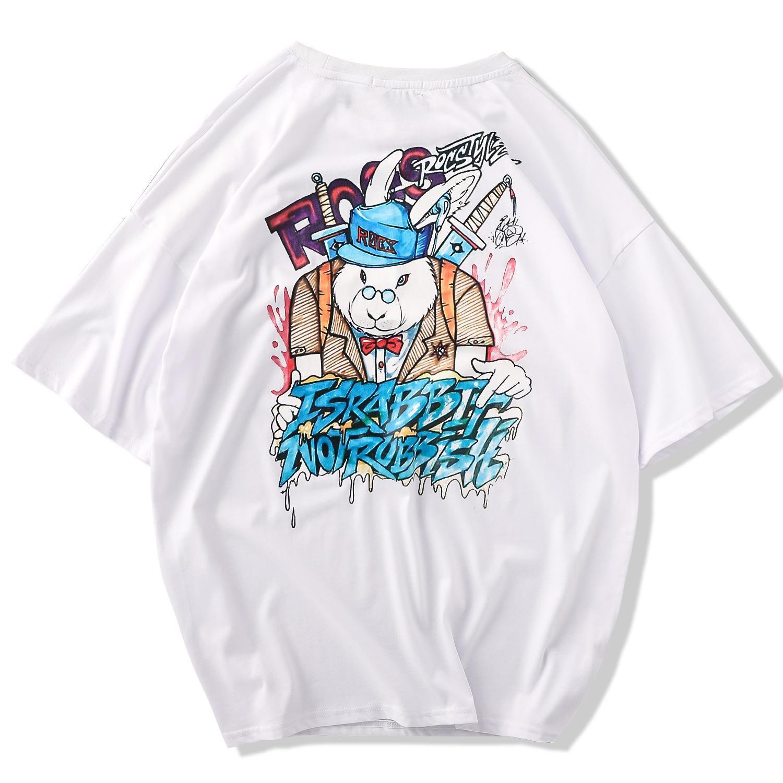 2019 Fashion Design Men's Clothing Summer T Shirt Mens New Original Trend Half Sleeve Cotton White Tshirt Size with S-XXL Bear Printing