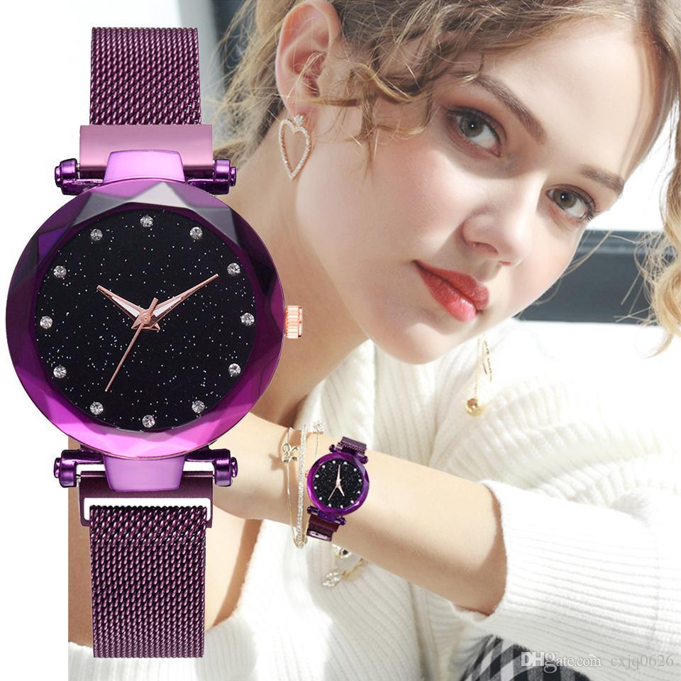 2019 высокое качество мода сексуальные женские наручные часы роскошные часы розовое золото леди наручные часы бренд таблицы кварцевый магнит замок Relojes De Marca Mujer