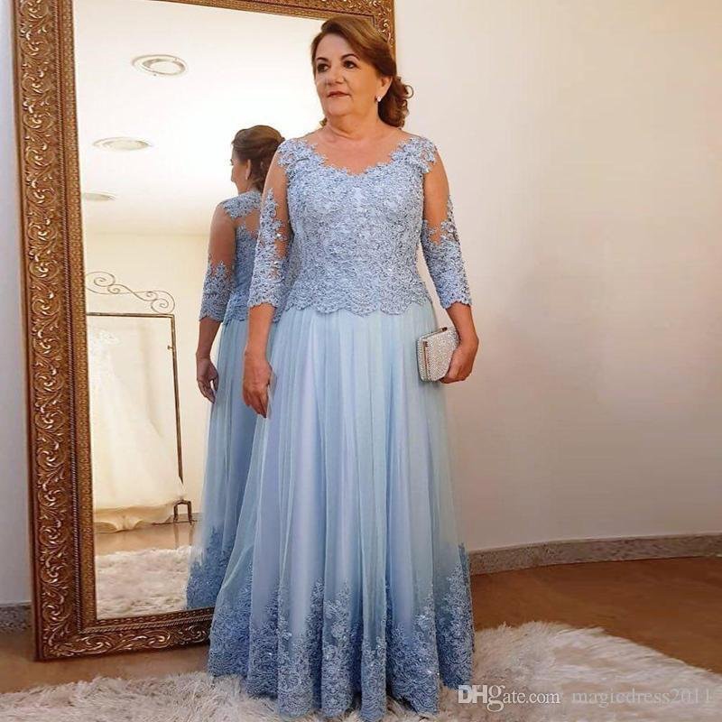 2020 Mother of The Bride Dresses Sheer Neck 3/4 Long Sleeve Floor Length Appliques Women Evening Wedding Guest Gowns