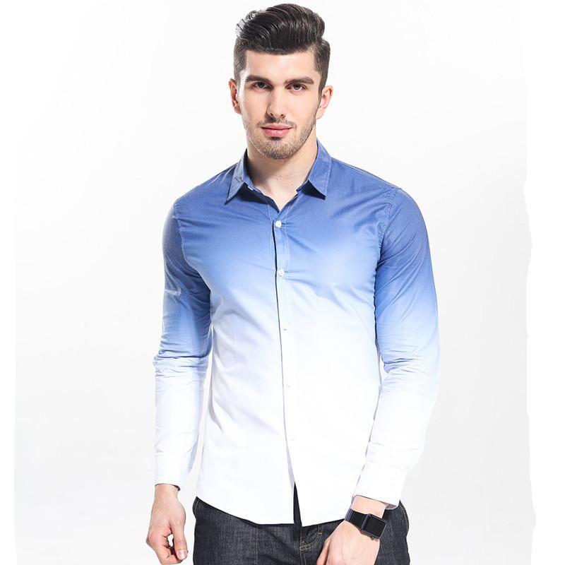 Fashion Men Shirt White Gradient Design Slim Fit Shirt Men Casual Long Sleeve Dress Shirts Clothing Great