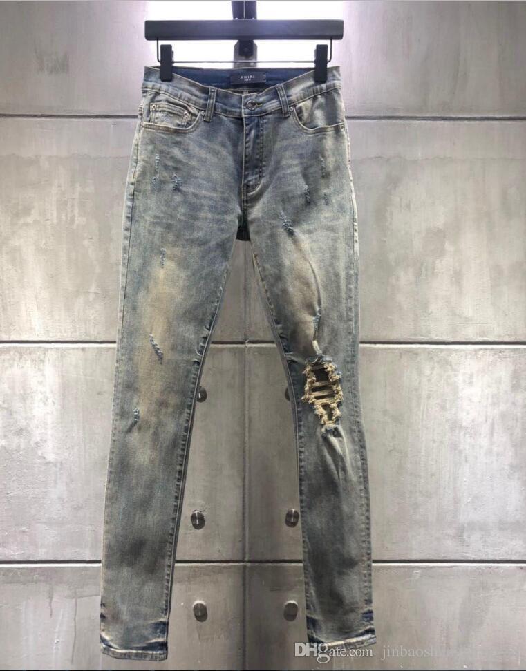 I nuovi uomini del foro Jeans Slim Men strappato pantaloni hip hop per i pantaloni uomini denim sottile pantaloni del motociclista Hole Tempo libero Size 28-36