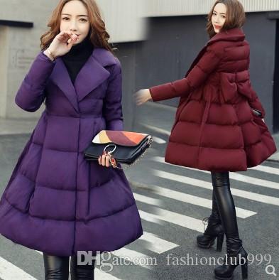 Chegada nova Hot Sale Special Moda Versão Coreana Fada Feminina Inverno Longo Seção Arco de Algodão Acolchoado Virgem Quente Além de Veludo De Algodão Casaco