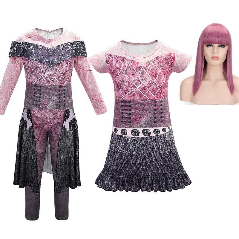 Descendientes chicas 3D imprimió el vestido Mal 2 Cosplay Niños Evie Fancy Dress Up Kids Equipos de Halloween Ropa