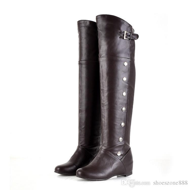 neue frauen stiefel herbst winter damen flachen boden stiefel schuhe über dem knie oberschenkel hohe pu-leder lange stiefel bx-987