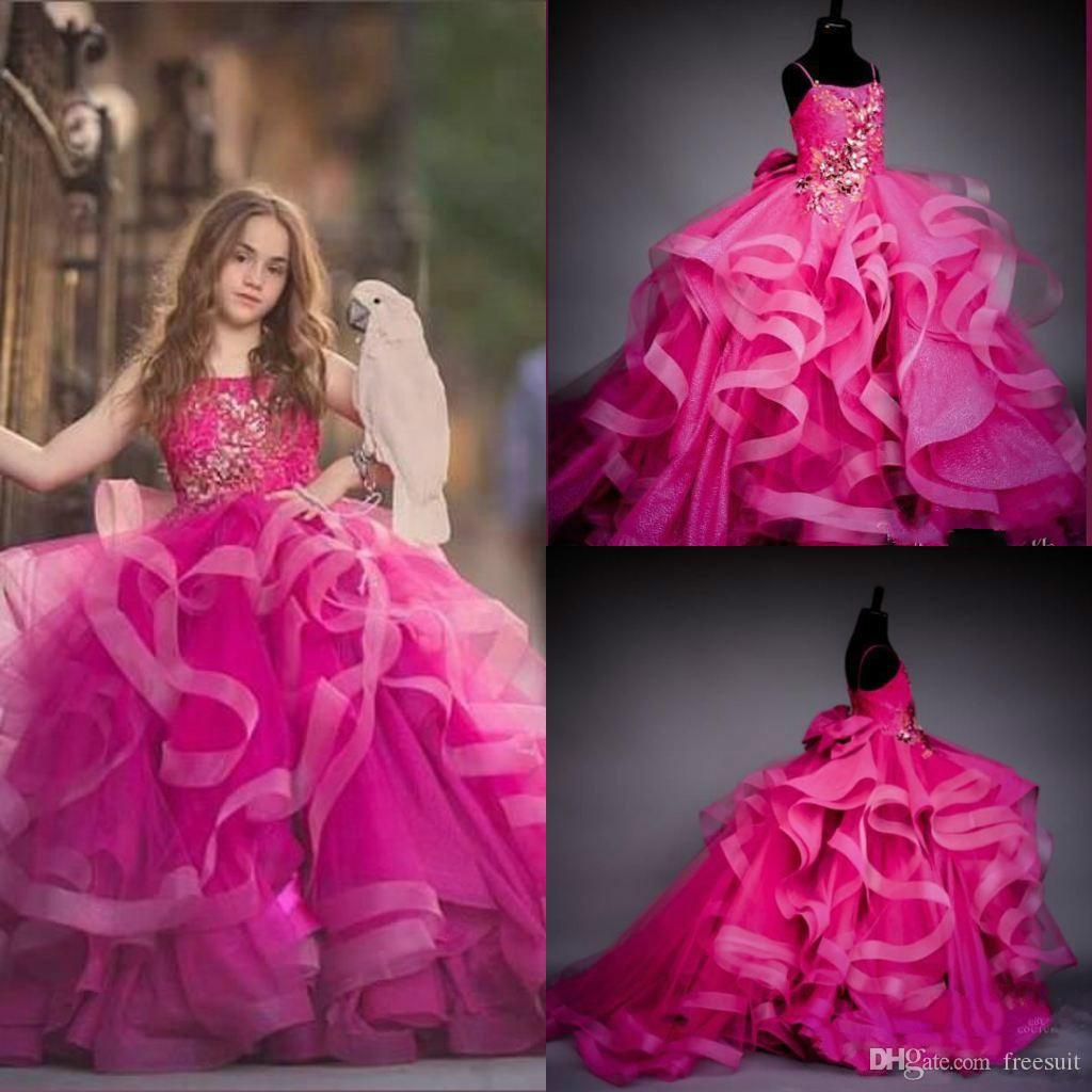 2020 Rosy Flower Girl Dress Appliqued Crystal Beaded Hand Made Flower Tiers Ruffle Girl Pageant Gowns Custom Made First Communion Gown