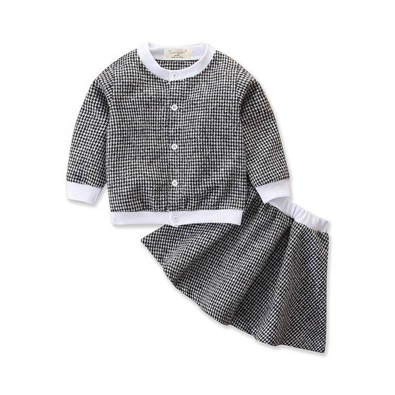 2020 nuevas muchachas de la manera adapte a los niños Ropa para niñas abrigos + faldas 2pcs / set princesa niñas trajes de ropa de niños al por menor A10403