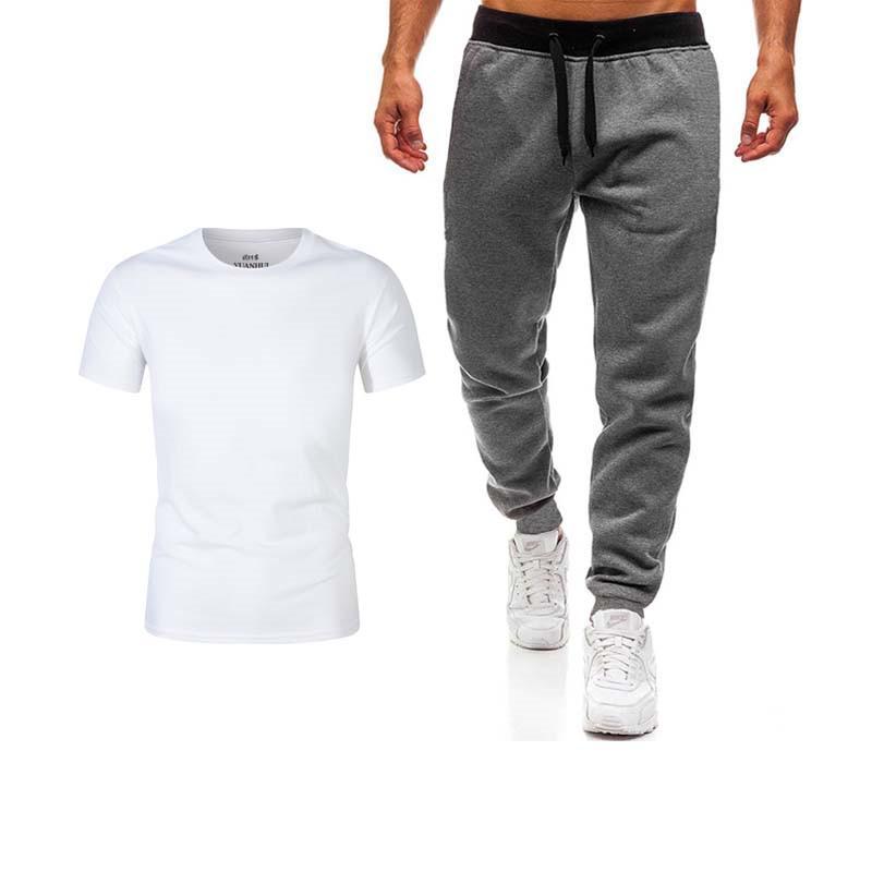 Pantolon erkek spor pantolon + erkek çalışan tişört elbise spor giyim spor spor eşofman eğitim