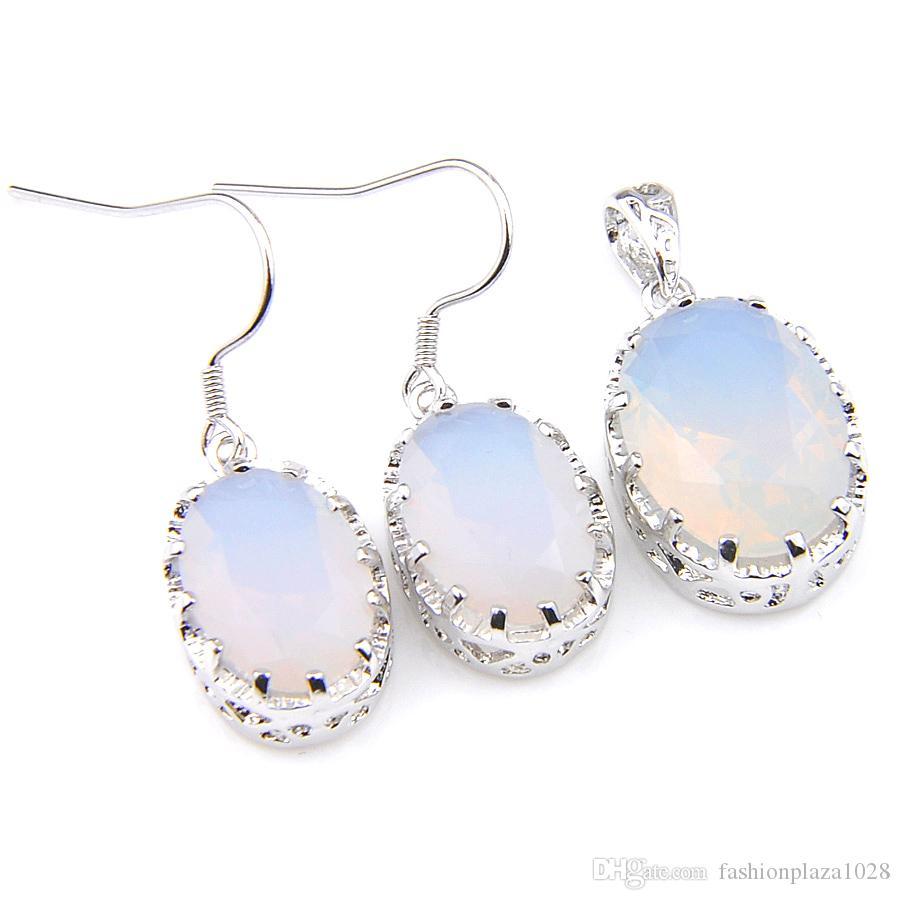 LuckyShine Splendida Impegni gioielli bianchi Moonstone ovali d'argento Ciondoli e orecchini set