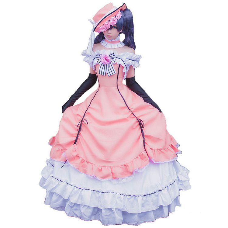 애니메이션 블랙 버틀러 치클 팬텀 하이브 코스프레 여성 빅토리아 중세 공 가운 드레스 의상