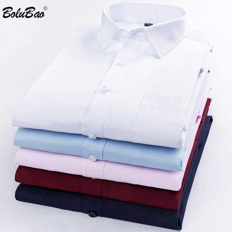 BOLUBAO Marke Männer Shirts Einfarbig Slim Fit Wilden Mode für Männer Casual Shirts Trend Plaid Print Jugend männlichen Basis Hemd