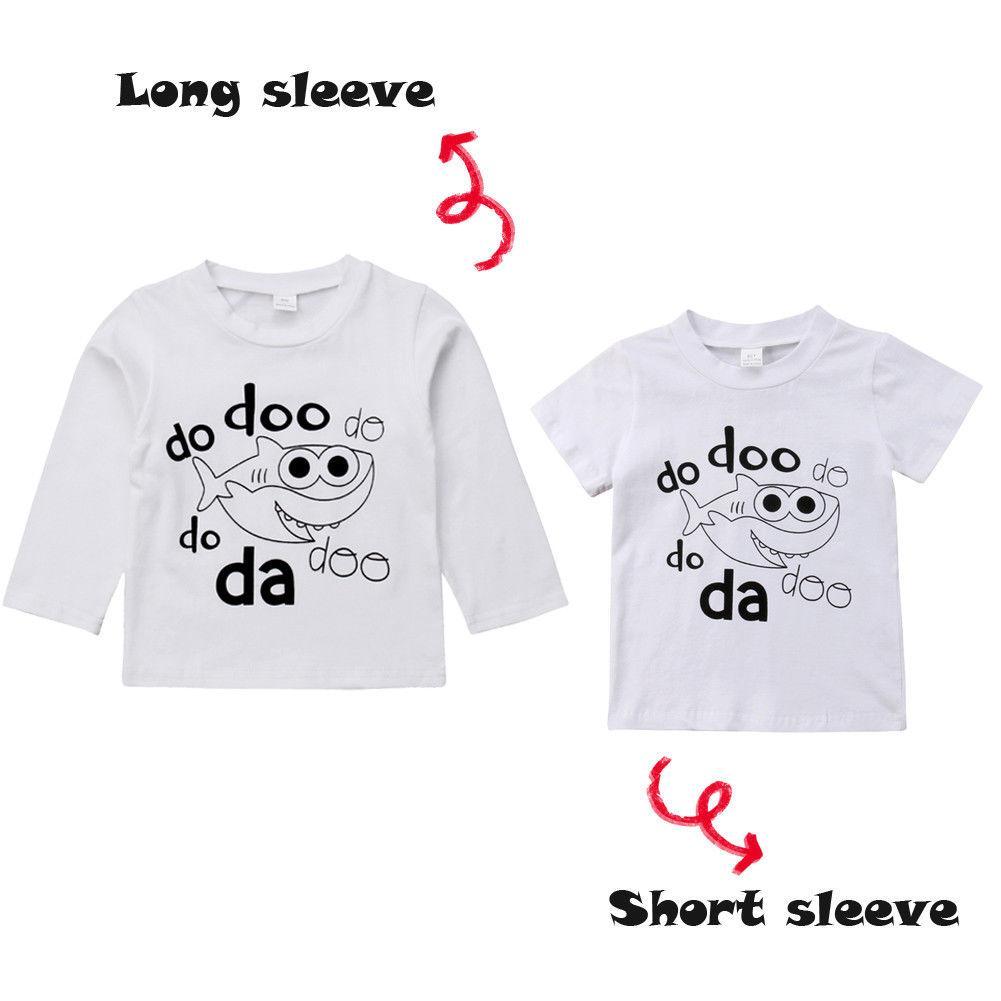 Matching família da criança do bebê crianças meninas menino tubarão impressão da camisa T T Tops manga longa e curta de algodão roupas Outfits