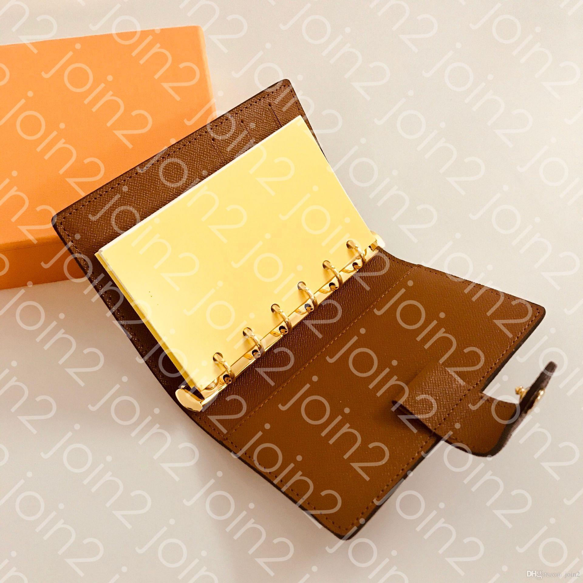 R20105 중형 소형 링 어젠다 커버 디자이너 Womens 패션 노트 신용 카드 홀더 케이스 고급 지갑 아이코닉 브라운 방수 캔버스