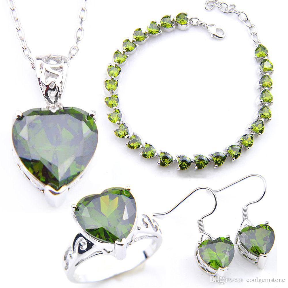 LuckyShine Earring Pendants Rings Bracelet Sets Silver Crystal Zircon Heart Jewelry Sets For Women Sets Wedding Jewelry NEW