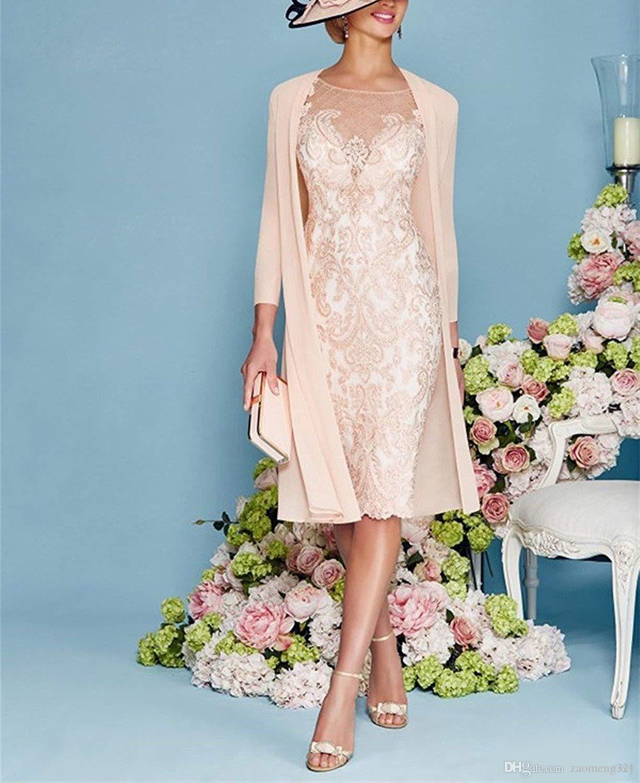 2 pezzi rosa madre di abiti da sposa abiti in pizzo chiffon gioiello 3/4 manica ginocchio lunghezza mamma vestito per matrimoni