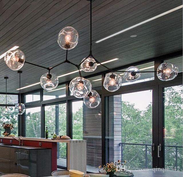 EMS Nuovi lampadari in vetro globo luci nordic lampadario moderno illuminazione leggera lampada pendente in vetro lampada a sfera di vetro 110V-220V