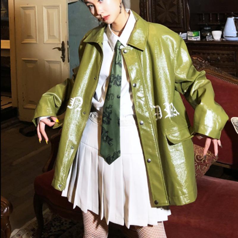 Vintage Long Sleeve Loose Pu Leather Woman Coat Street Punk Style Pocket Female Green Jacket