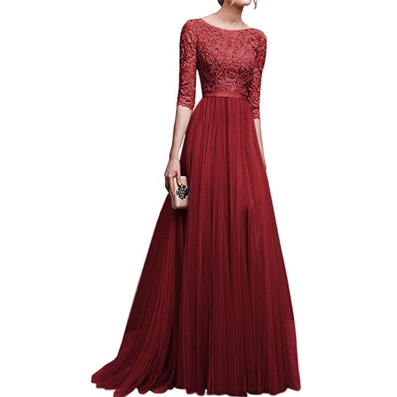 Mediados de manga O-cuello de encaje gasa vestido de banquete Mujer de la boda Dama de honor palabra de longitud vestido de bola vestido de encaje banquete Prom