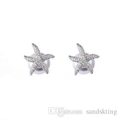 Europa e Stati Uniti nuovi orecchini in argento sterling S925 stella marina perle donne prima e dopo la Corea elegante temperamento moda alta-