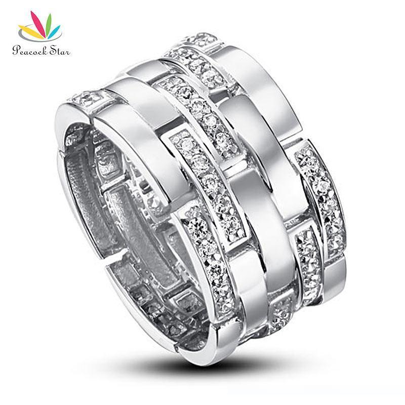 Paon étoile mariage bande anniversaire Sterling massif 925 bijoux Bague en argent CFR8005