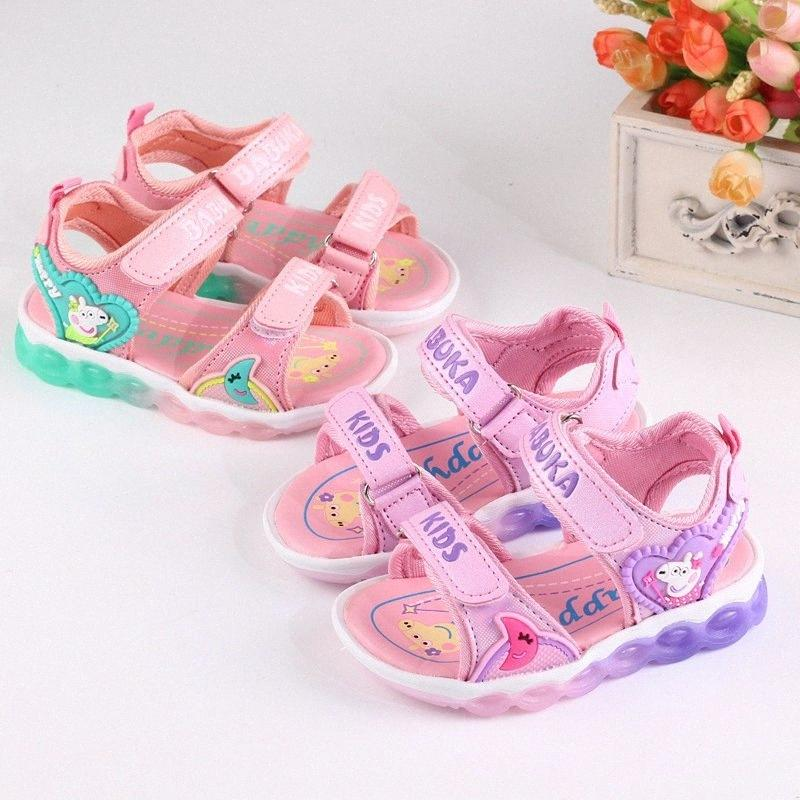 Kid shoe 2020 summer new Fashion Led boys and girls Cartoon sandals baby shoes kids beach shoes flashing sandals 7l2i#