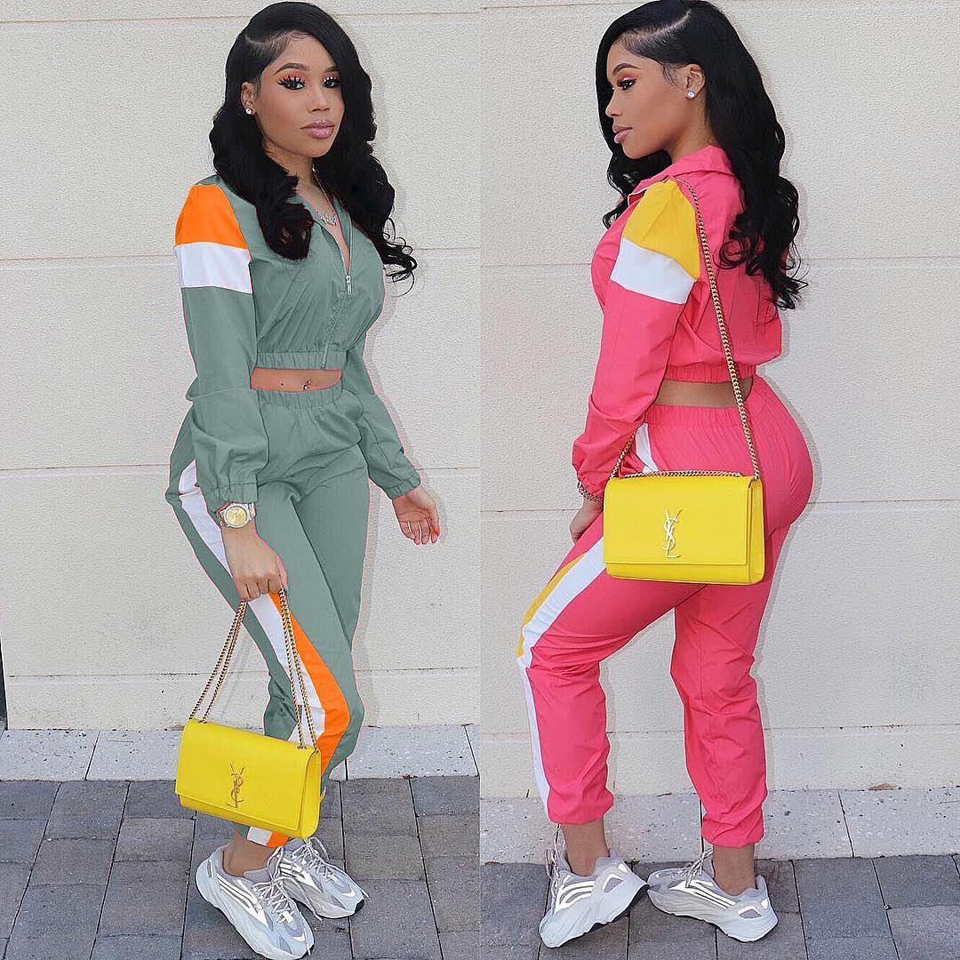 Mulheres Designer Two Piece Set Top e calças Mulheres Treino Casual Suit Outfit Sports verde Patchwork Mulheres sweatsuits Size Vestuário S-2XL