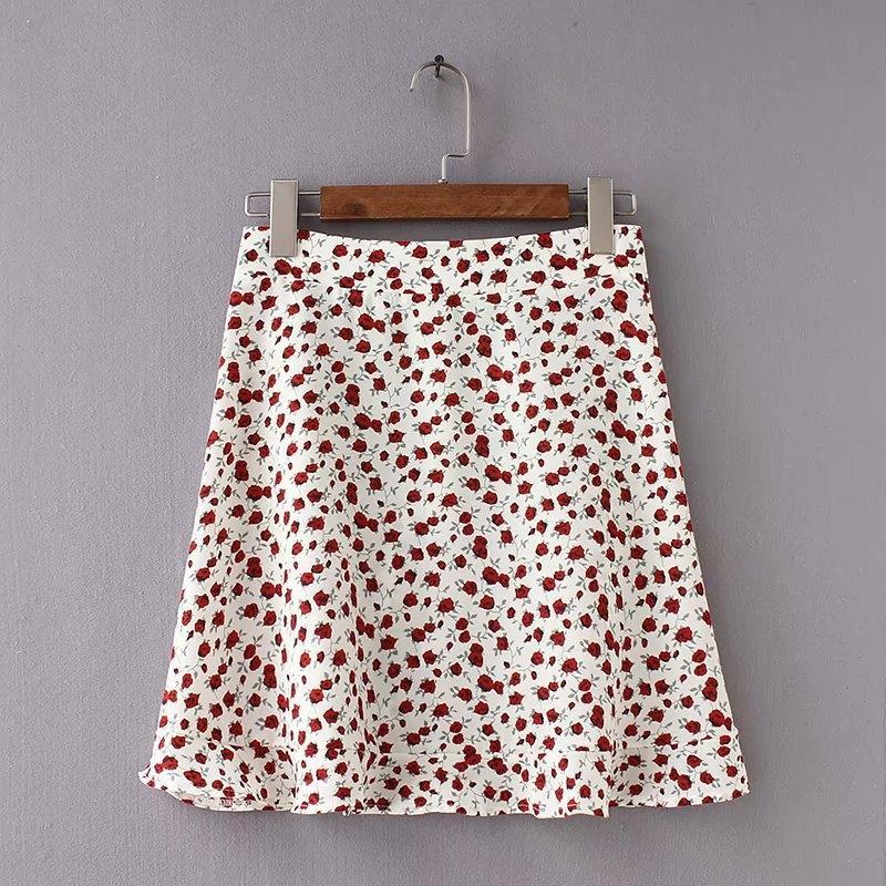 GS9Fq Elegante Mini cintura hem hem floral A- linha de vestido lado guarnição vestido de alta bonito babados sexy linha A- saia saia de verão